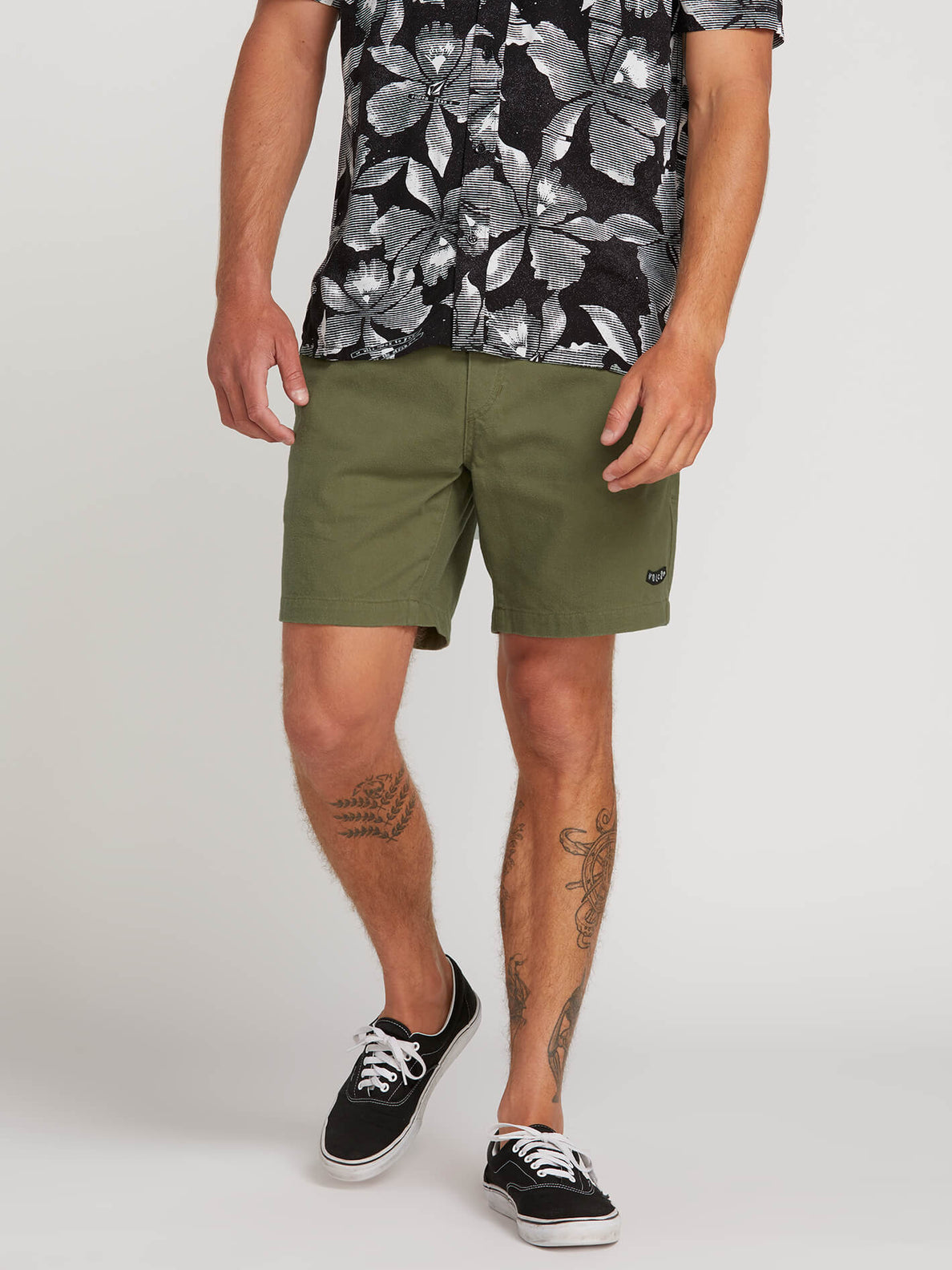 Hazed Shorts In Army, Front View
