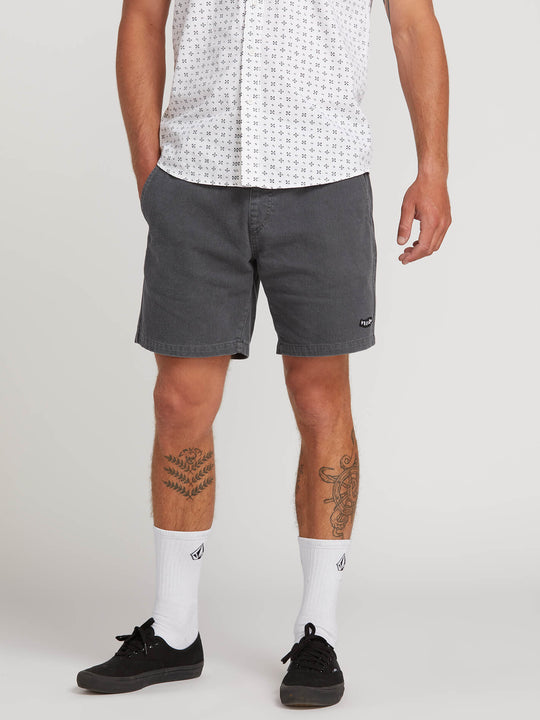 Hazed Shorts In Washed Black, Front View