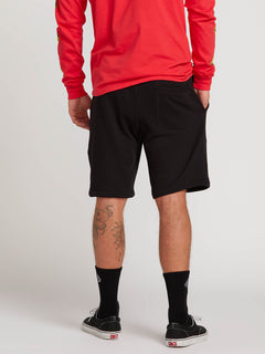 Deadly Stones Fleece Shorts In Black, Back View