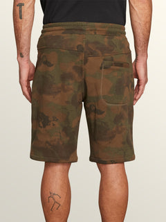 Deadly Stones Fleece Shorts In Camouflage, Back View