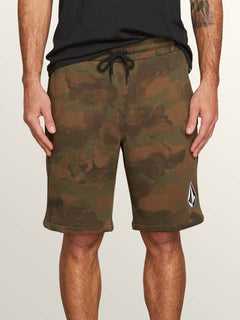 Deadly Stones Fleece Shorts In Camouflage, Front View