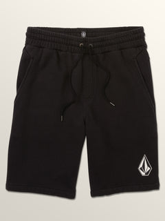 Deadly Stones Fleece Shorts In Washed Black, Third Alternate View