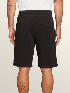 Deadly Stones Fleece Shorts In Washed Black, Back View