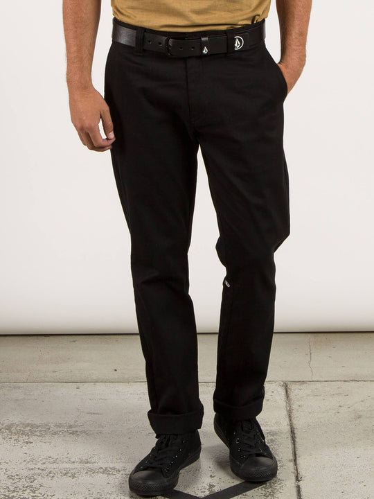 Frickin Modern Stretch Chino Pants In Black, Front View