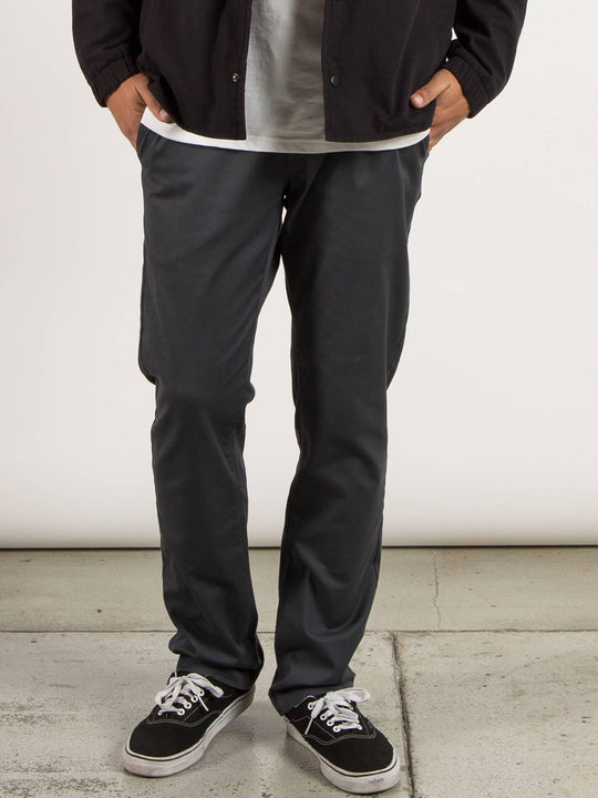 Frickin Modern Stretch Chino Pants In Charcoal Grey, Front View