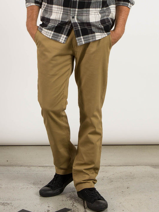 Frickin Modern Stretch Chino Pants In Dark Khaki, Front View