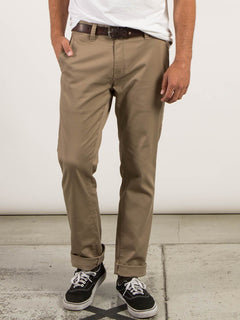 Frickin Modern Stretch Chino Pants In Khaki, Front View