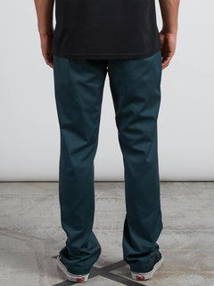 Frickin Modern Stretch Chino Pants In Navy Green, Back View
