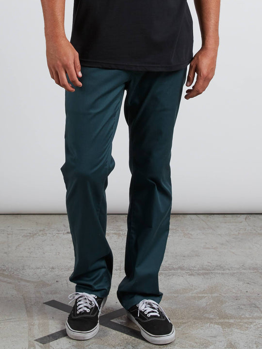 Frickin Modern Stretch Chino Pants In Navy Green, Front View