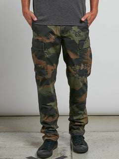 Vsm Stranger Cargo Pants In Camouflage, Front View