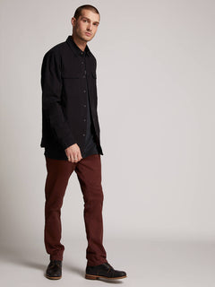 Frickin Slim Chino Pants In Bordeaux Brown, Alternate View