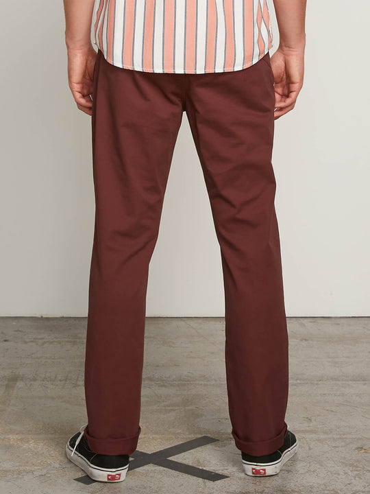 Frickin Slim Chino Pants In Bordeaux Brown, Back View