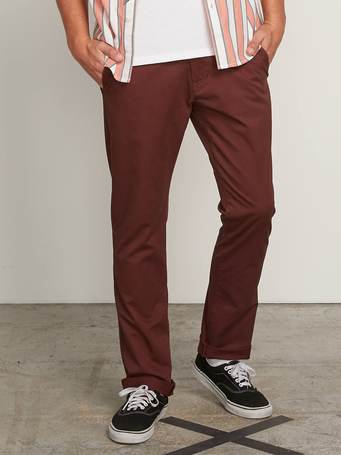 Frickin Slim Chino Pants In Bordeaux Brown, Front View