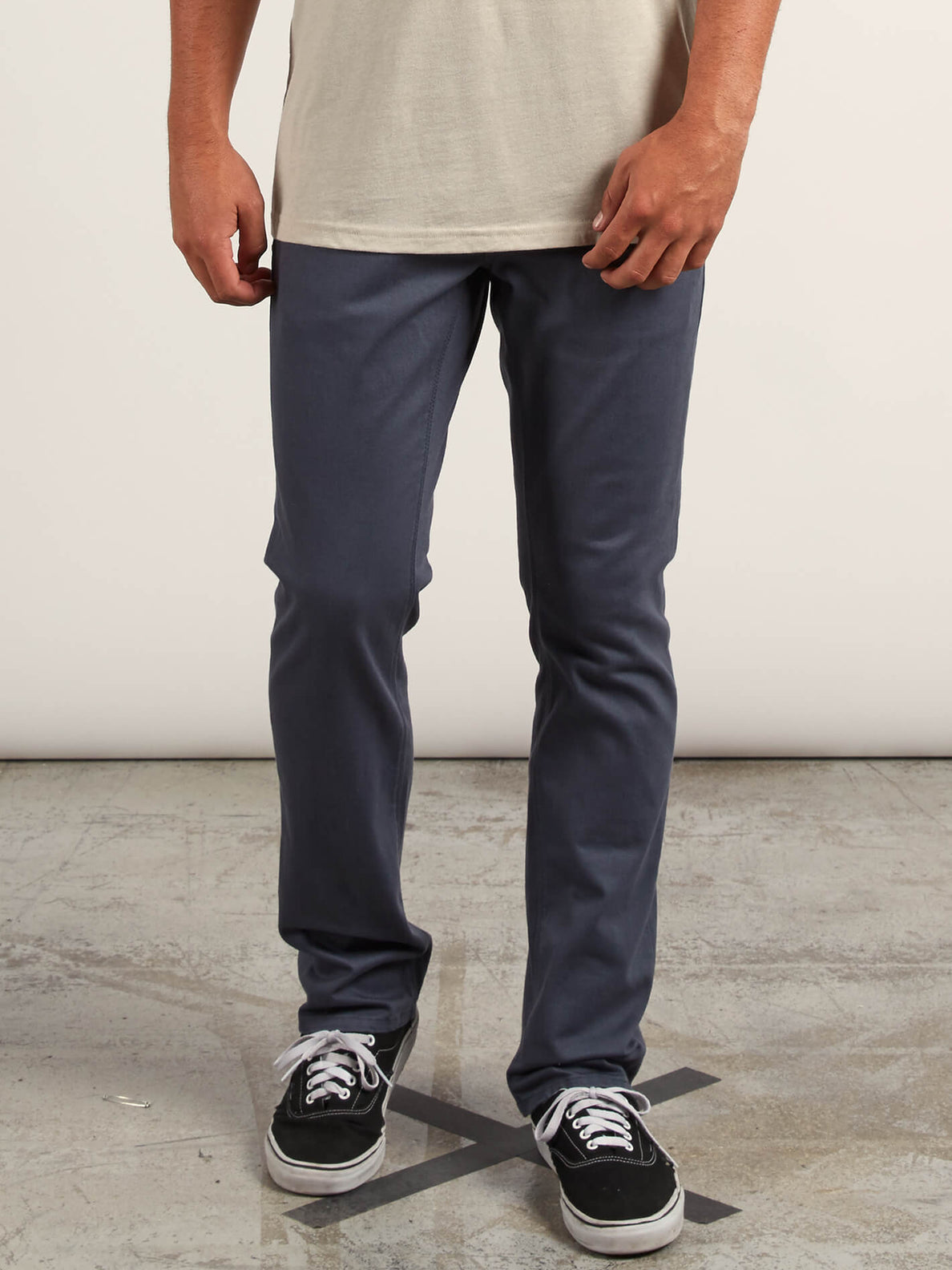 Vorta 5 Pocket Slub Slim Fit Jeans In Midnight Blue, Front View