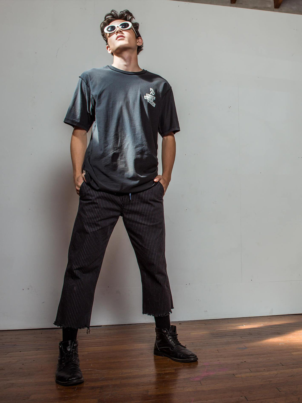 Noa Noise Chino Pants In Black, Third Alternate View