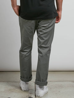 Frickin Modern Stretch Chino Pants In Dusty Green, Back View