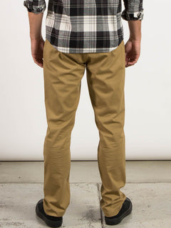 Frickin Modern Stretch Chino Pants In Dark Khaki, Back View