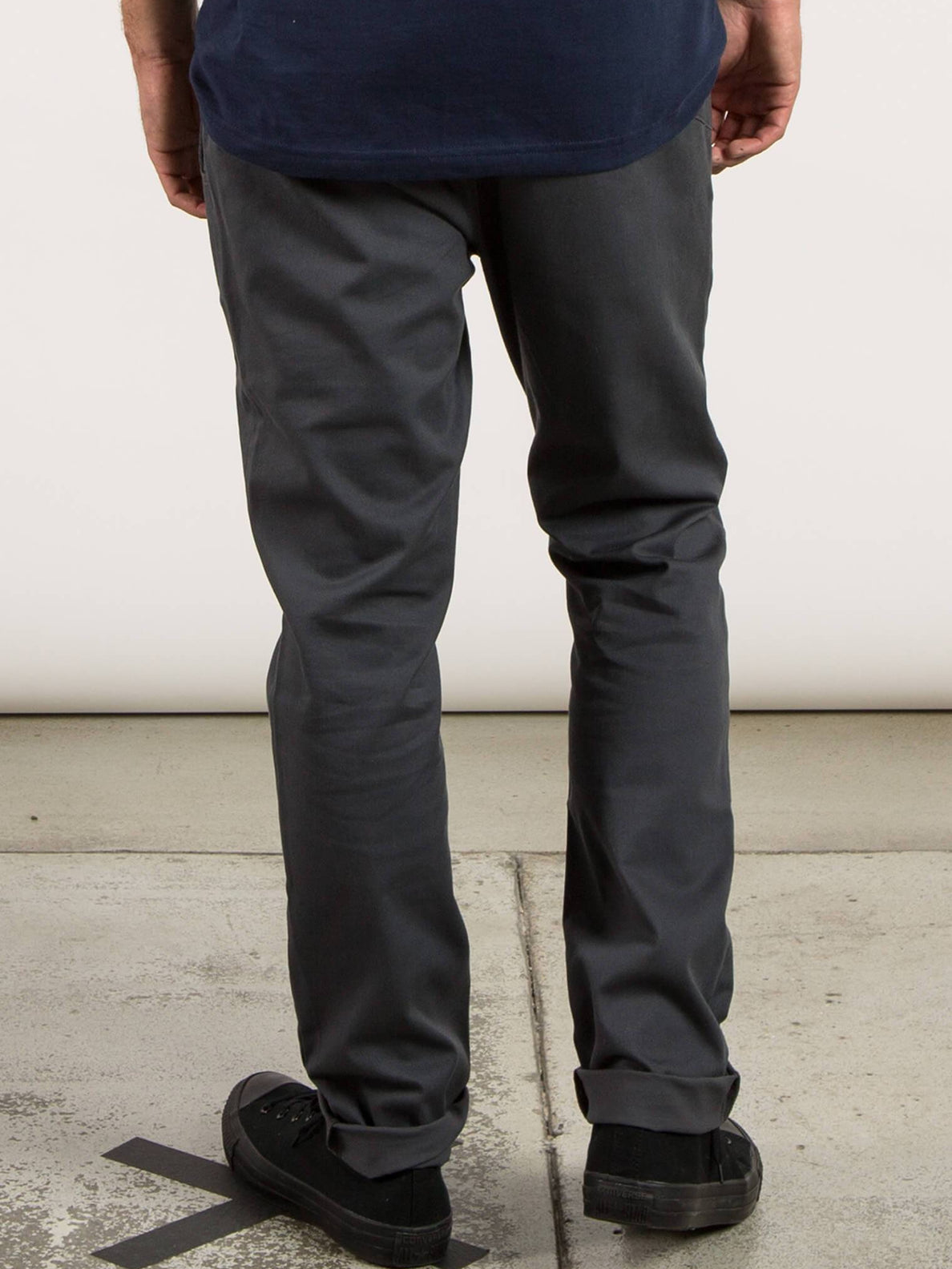 Frickin Comfort Chino Pants In Charcoal Grey, Back View