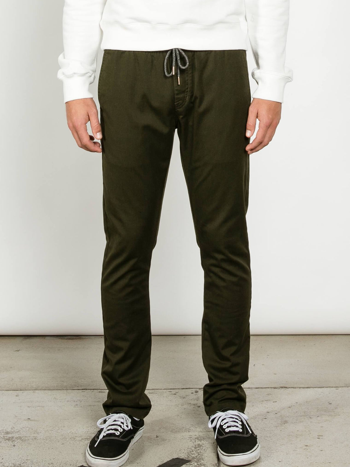 Frickin Comfort Chino Pants In Dark Green, Front View