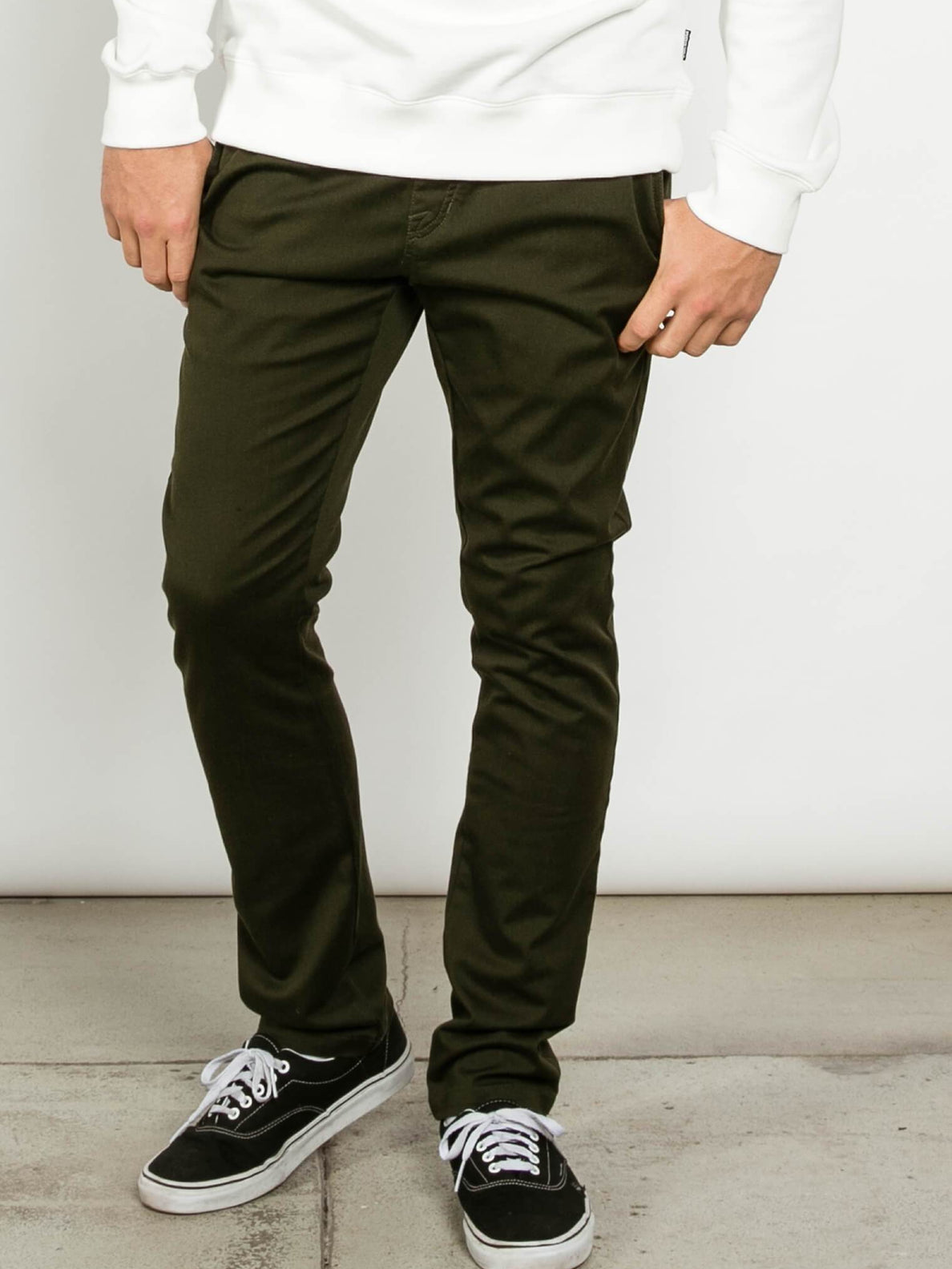 Frickin Comfort Chino Pants In Dark Green, Front Alternative View