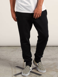 Sngl Stone Flc Pant In Black, Front View