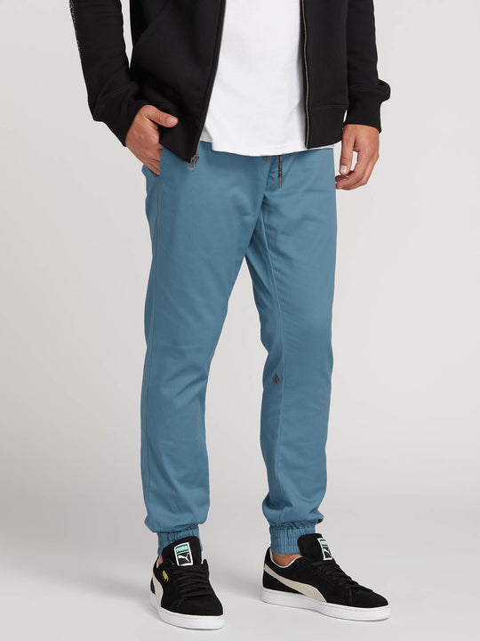 Frickin Modern Tapered Jogger Pants In Blue, Front View