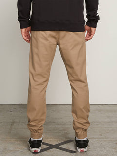 Frickin Modern Tapered Jogger Pants In Khaki, Back View