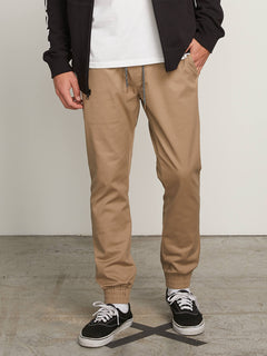 Frickin Modern Tapered Jogger Pants In Khaki, Front View