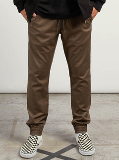 Frickin Modern Tapered Jogger Pants In Mushroom, Front View