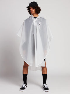 Deadly Stones Rain Poncho In Clear, Front View