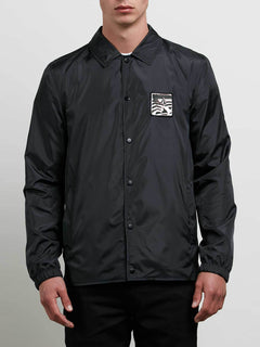 Brews Coach Jacket In Black, Front View