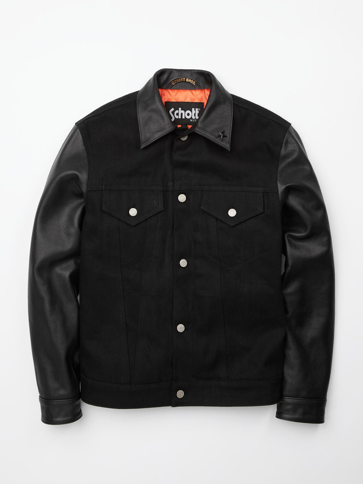 Volcom X Schott Jacket In Black, Front View