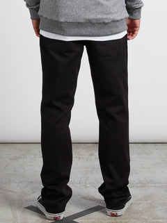 Kinkade Regular Tapered Jeans In Black On Black, Back View
