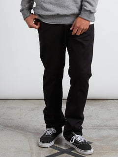 Kinkade Regular Tapered Jeans In Black On Black, Front View