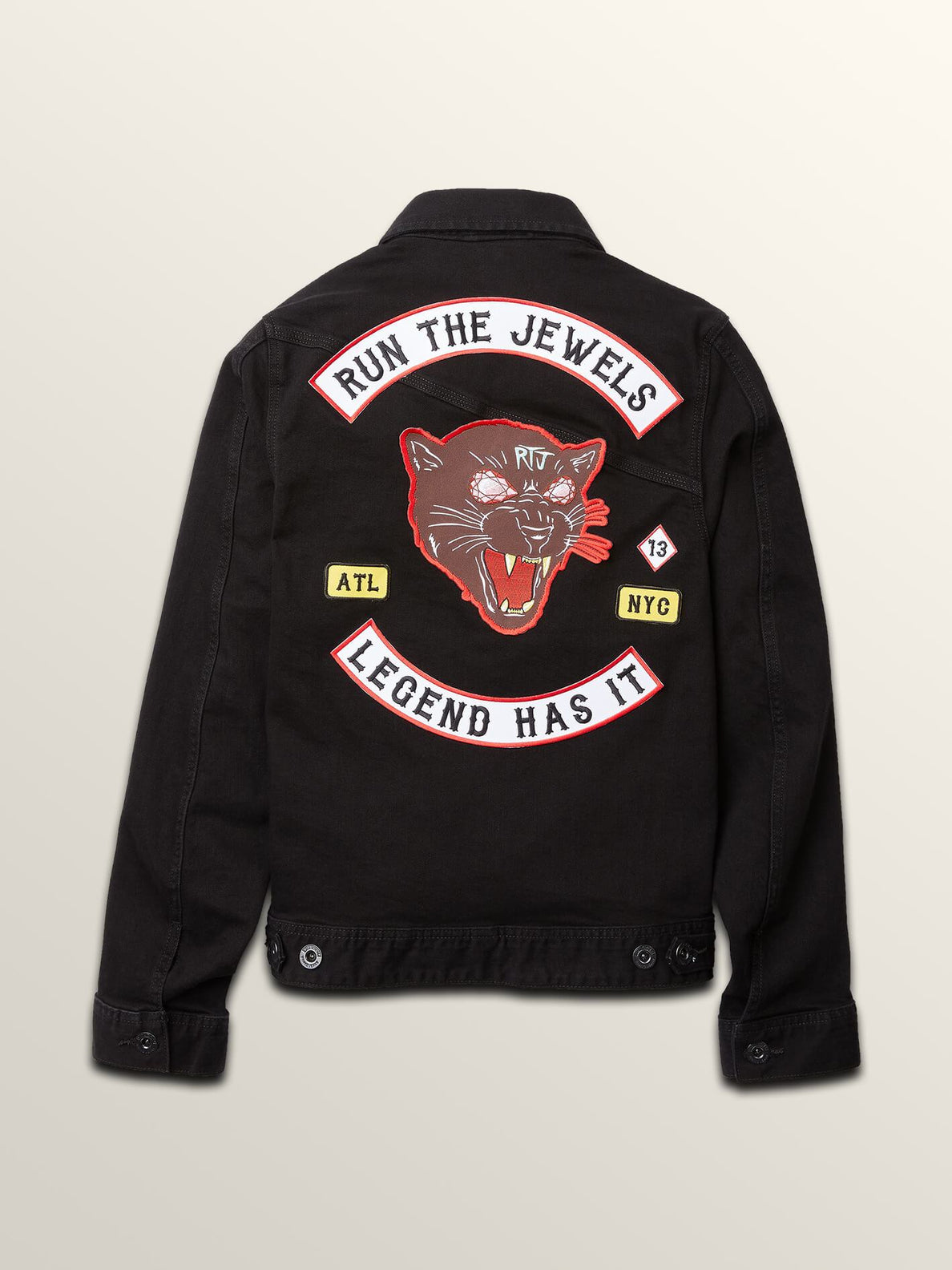 Run The Jewels Legend Has It Denim Jacket In Black, Back View
