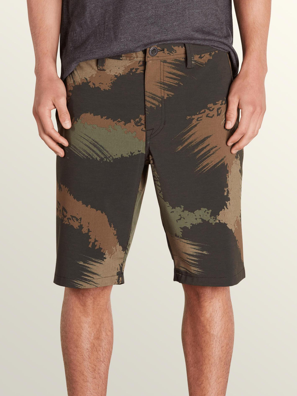 Frickin Surf N' Turf Mix Hybrid Shorts In Camouflage, Front View