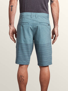 Frickin Surf N' Turf Mix Hybrid Shorts In Navy Green, Back View
