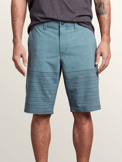 Frickin Surf N' Turf Mix Hybrid Shorts In Navy Green, Front View