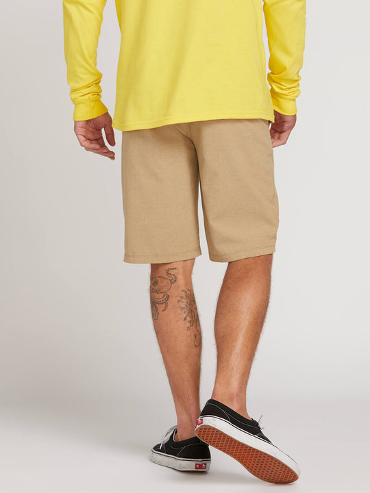 Frickin Surf N' Turf Static Hybrid Shorts In Dark Khaki, Back View