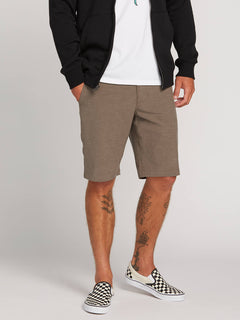 Frickin Surf N' Turf Static Hybrid Shorts In Mushroom, Front View