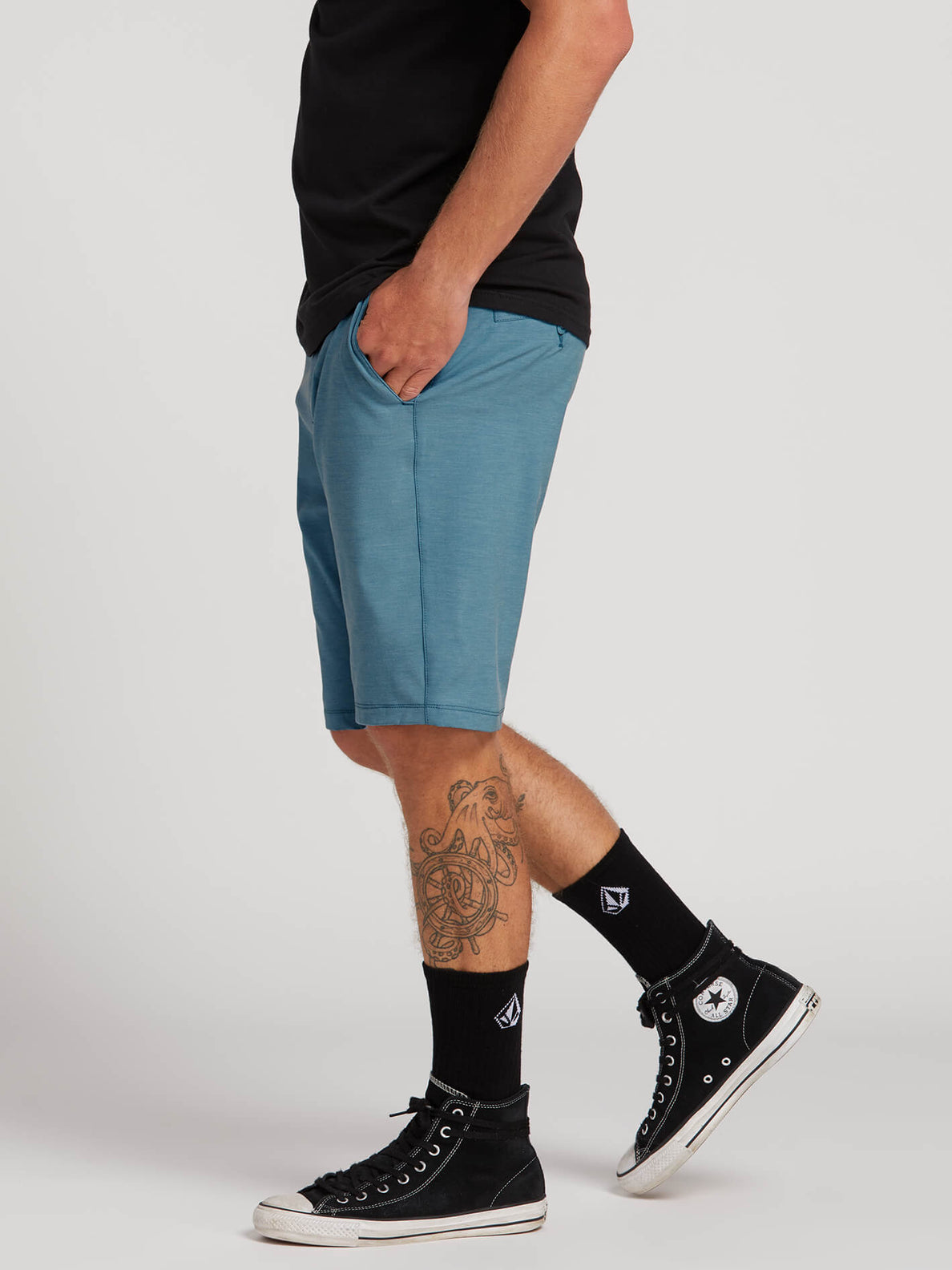 Frickin Surf N' Turf Static Hybrid Shorts In Vintage Blue, Alternate View