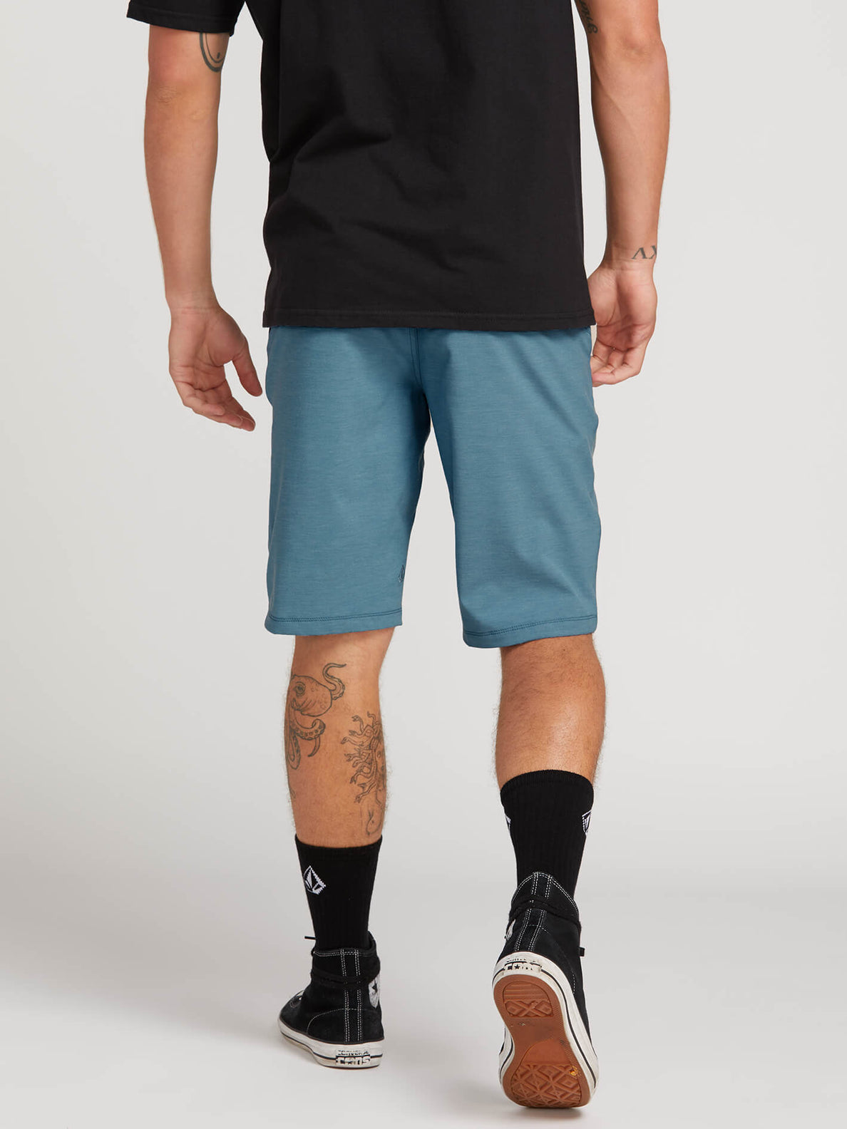 Frickin Surf N' Turf Static Hybrid Shorts In Vintage Blue, Back View