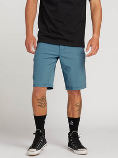 Frickin Surf N' Turf Static Hybrid Shorts In Vintage Blue, Front View