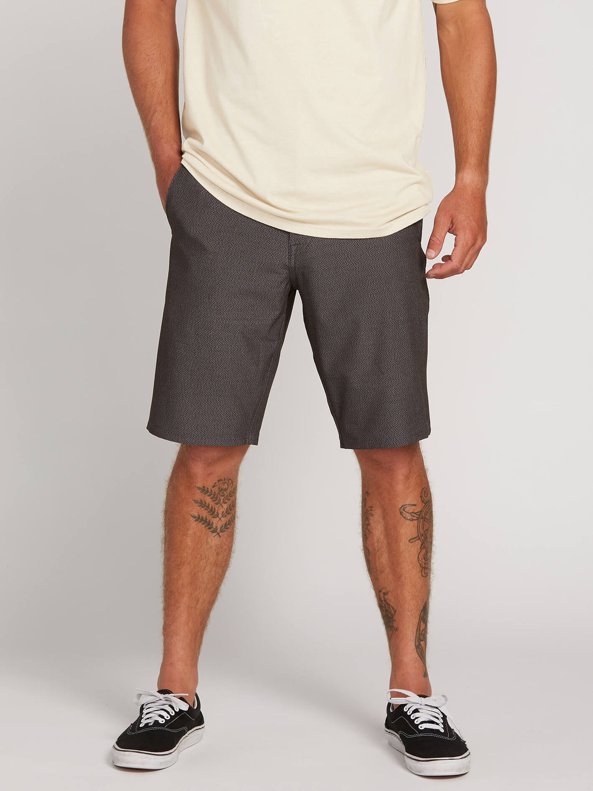 Frickin Surf N' Turf Dry Hybrid Shorts In Charcoal Heather, Front View