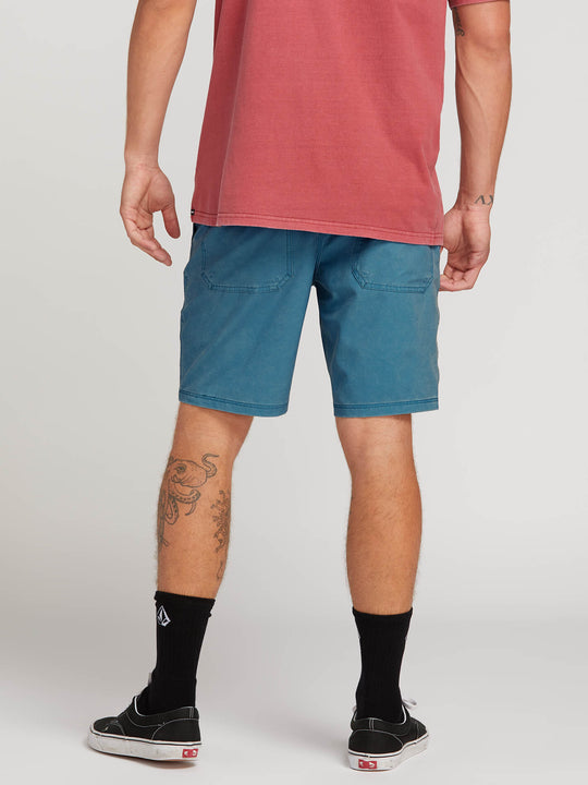 Surf N' Turf Faded Hybrid Shorts In Vintage Blue, Back View
