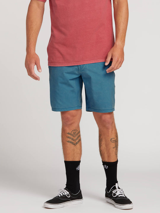 Surf N' Turf Faded Hybrid Shorts In Vintage Blue, Front View