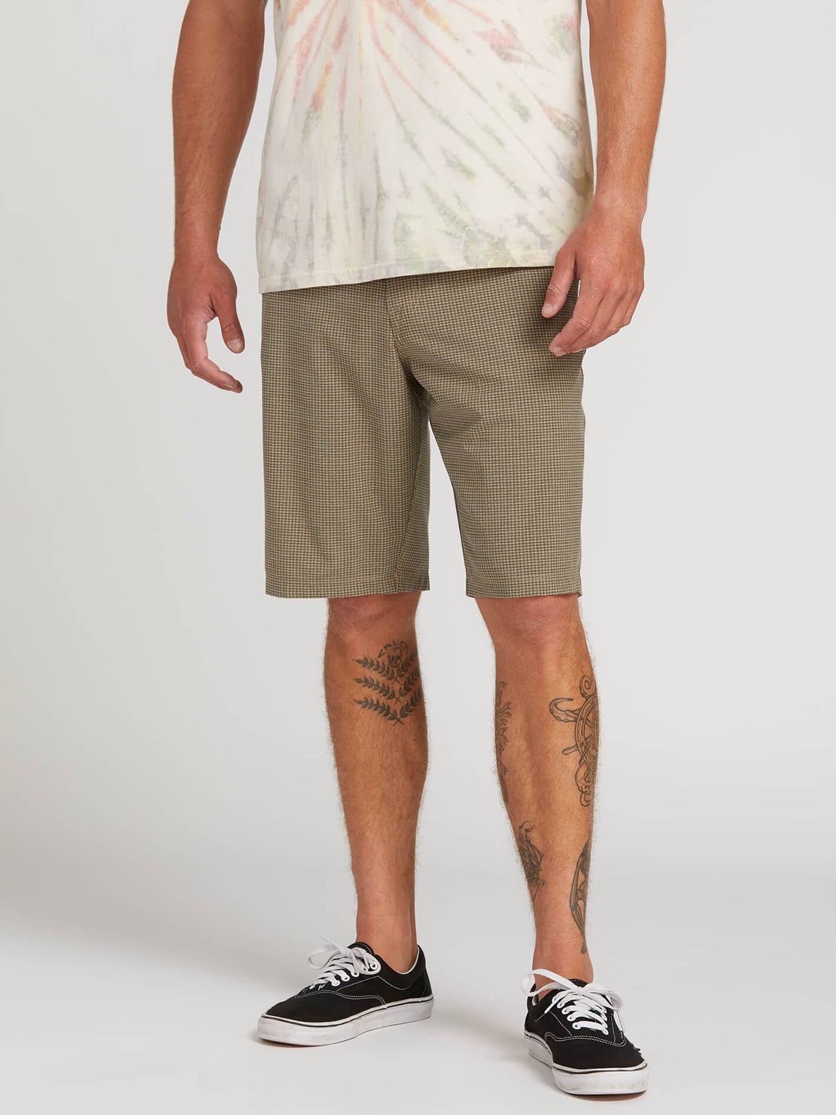 Frickin Surf N' Turf Mix Hybrid Shorts In Mushroom, Front View
