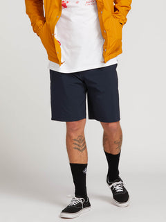 Stone Lite Hybrid Shorts In Navy, Front View