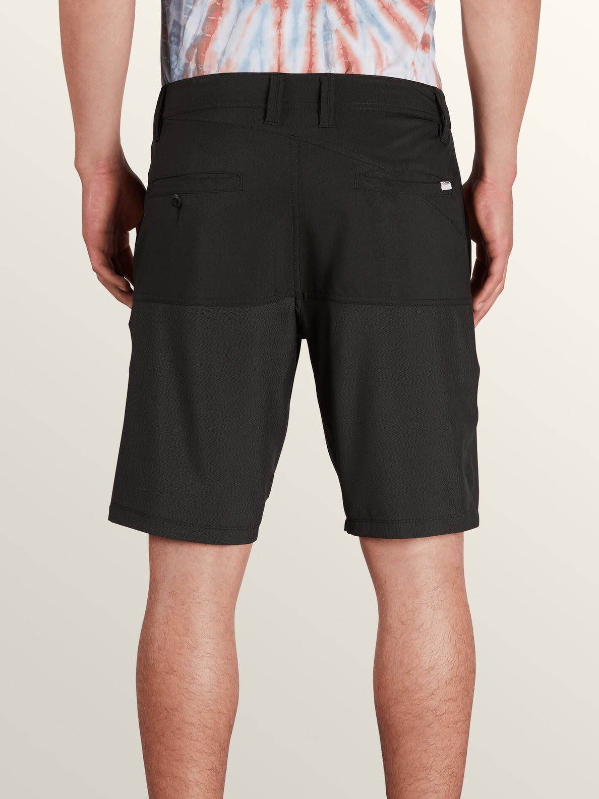 Surf 'N Turf Hybrid Block Hybrid Shorts In Black, Back View