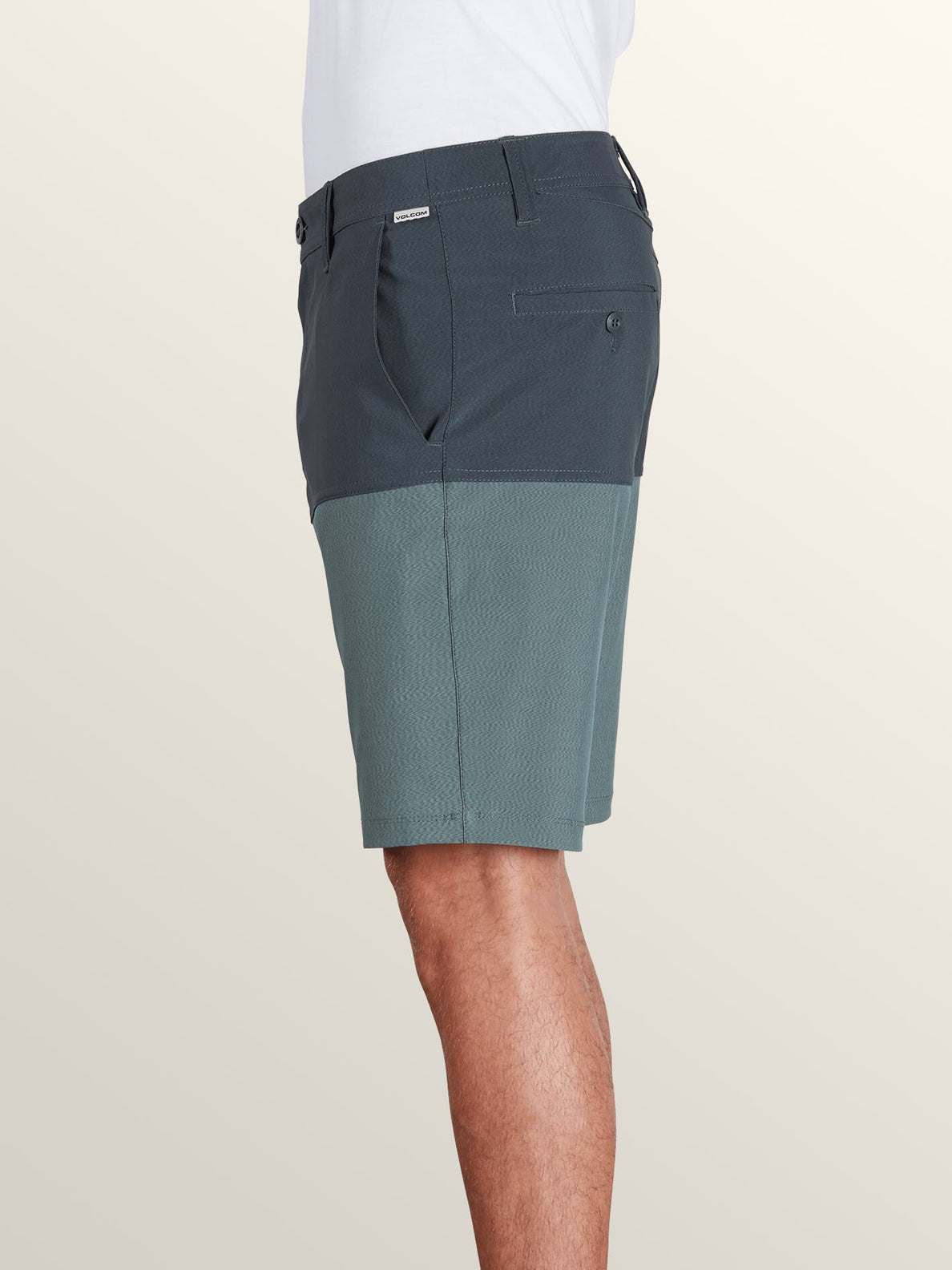 Surf 'N Turf Hybrid Block Hybrid Shorts In Lead, Back View